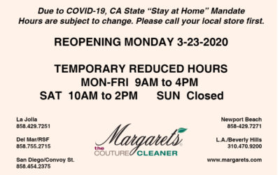 Margaret's Reopening Mon 3/23. Temporary Reduced Hours.