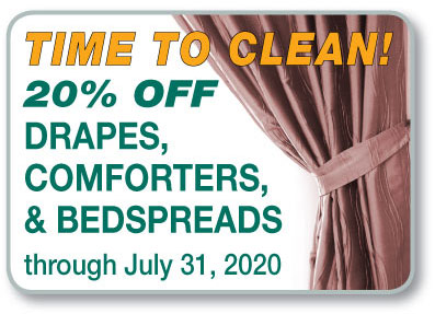 Drapes, Comforters & Bedspreads–20% Off Cleaning Through July 31
